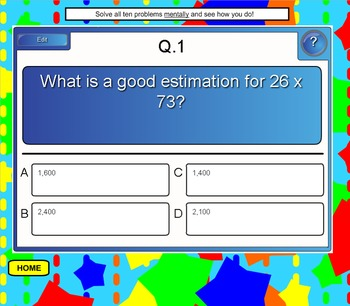 Multiplication Problems SMART BOARD Games