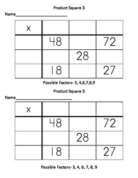 Multiplication- Product Squares