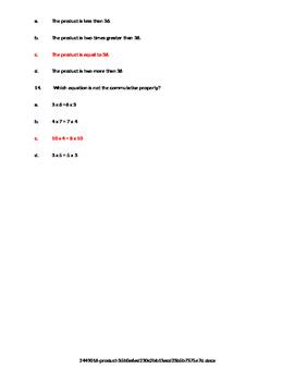 Multiplication Properties Assessment