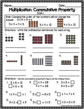 Multiplication Properties: Commutative, Identity, and Zero Property Worksheets