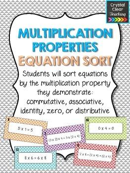 Multiplication Properties Equation Sort