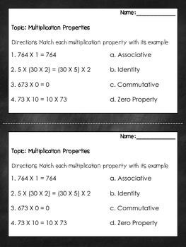Multiplication Properties Exit Ticket