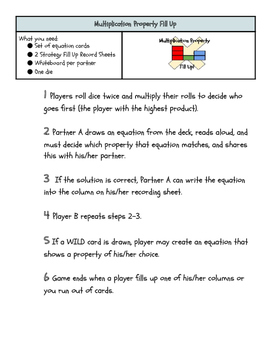 Multiplication Property Fill Up: Mini Lesson & Math Center Game