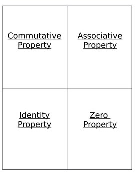 Multiplication Properties Flip Book