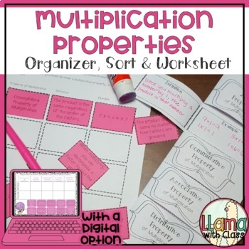 Multiplication Properties Foldable, Sort, and Worksheet