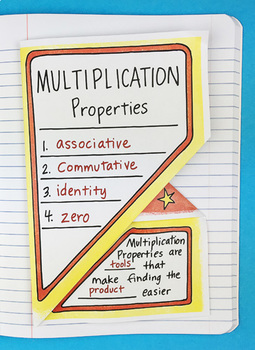 Multiplication Properties Interactive Notebook Foldable by Math Doodles
