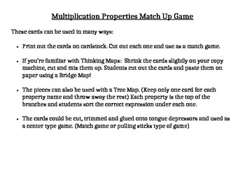 Multiplication Properties Match Game