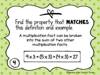 Multiplication Properties Matching Math Centers