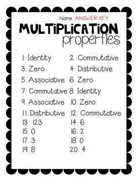 Multiplication Properties Pack