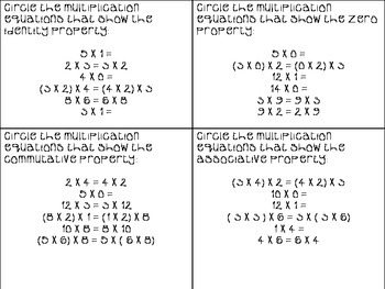 Multiplication Properties Quiz