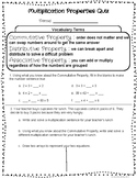 Multiplication Properties Quiz - Commutative, Associative, Distributive