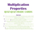 Multiplication Properties Quiz-Quiz-Trade Cards