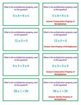 Multiplication Properties Quiz-Quiz-Trade Cards