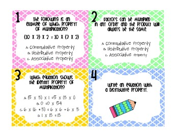 Multiplication Properties Task Cards