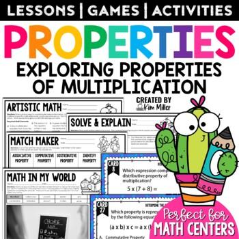 Multiplication Properties Task Cards: Math Center, Scoot Game, Test Prep