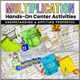 Multiplication Properties Task Cards & Games- Grocery Store Theme Math Centers