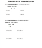 Multiplication Properties Worksheet