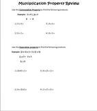 Multiplication Properties Worksheet