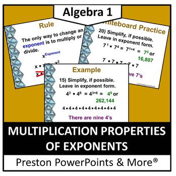 Multiplication Properties of Exponents in a PowerPoint Pre