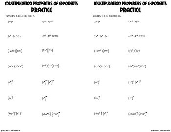 Multiplication Properties of Exponents Foldable