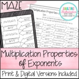 Multiplication Properties of Exponents Maze - Laws of Exponents Activity