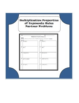 Multiplication Properties of Exponents Partner Problems