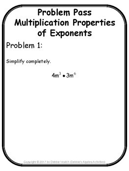 Multiplication Properties of Exponents Problem Pass Activity