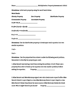 Multiplication Property Assessment 3.OA.5