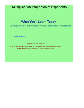 Multiplication Property Of Exponents SmartBoard Lesson