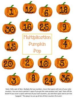Multiplication Pumpkin Pop