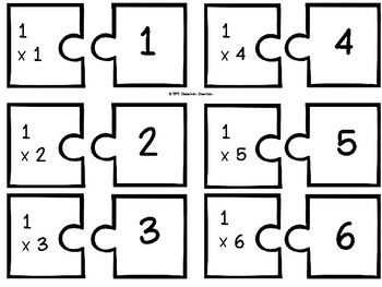 Multiplication Puzzle Piece Matching Game