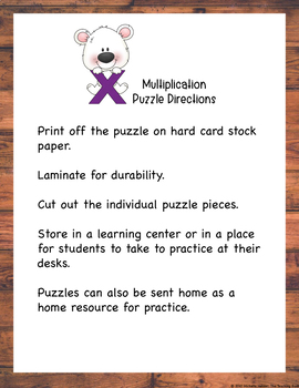 Multiplication Puzzle Factors 0 and 1