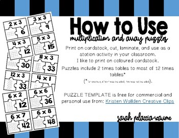 Multiplication Puzzles - Math Station - Arrays, Multiplication Facts