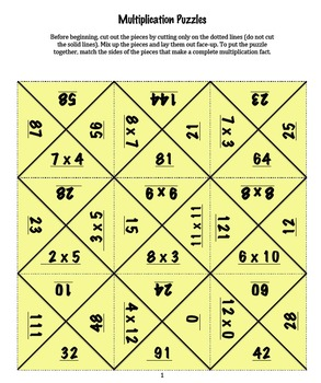 Multiplication Puzzles - Multiplication Fact Practice