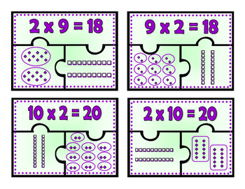 Multiplication Puzzles:  The Doubles and The Twos through 12