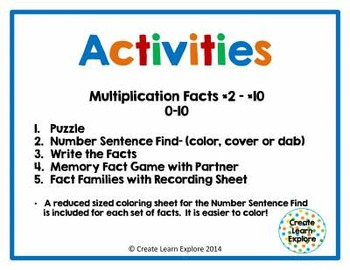 Multiplication Activities Puzzles Games and Fact Families