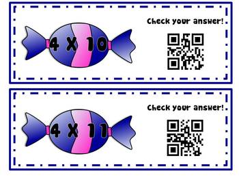 Multiplication QR Code Flash Cards and Array Game