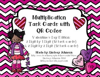 Multiplication QR Code Task Cards- Valentine's Day Edition
