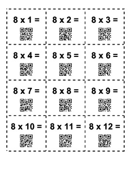Multiplication QR Flash Cards 6-12
