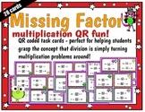 Multiplication QR task cards missing factors - commutative property
