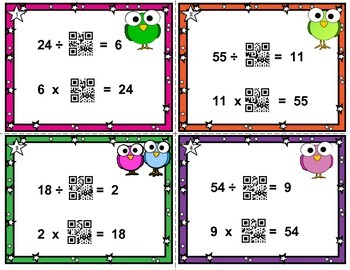 Multiplication QR task cards missing factors - commutative property