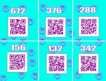 Multiplication QR codes one digit times two digit number scavenger hunt