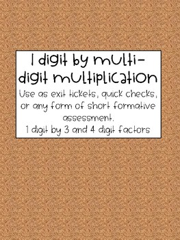 Multiplication Quick Check Exit Ticket