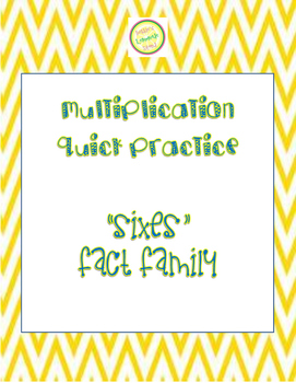 """Multiplication Quick Quiz """"6"""" Fact Family - Learn to Multi"""