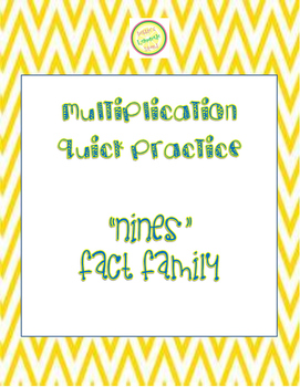 "Multiplication Quick Quiz ""9"" Fact Family - Learn to Multi"