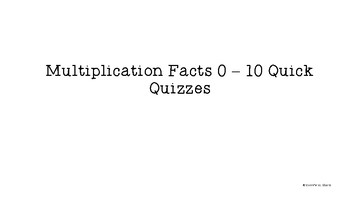 Multiplication Quick Quizzes and Flashcards