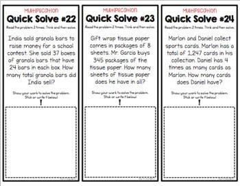 Multiplication Word Problem Quick Solves