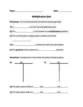 Multiplication, Factors, Prime/Composite Quiz