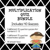 Multiplication Quiz Bundle (Minute Quizzes/Timed Multiplic