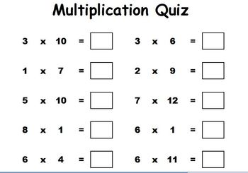 Multiplication Quiz - Randomly Generated Multiplication Questions